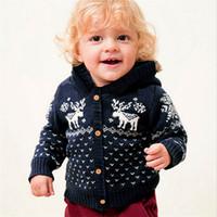 abrigo de bebé de venado al por mayor-2019 Marca recién nacido Niño del asiento de la capa de punto sudaderas con capucha Cardigan ropa de invierno caliente de Navidad ciervos suéter encapuchado Outwear