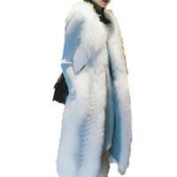 настоящий меховой мех оптовых-New Whole Leather Women Genuine Cross  Fur Vest Coat Lady Real Natural Fur Waistcoast Female Long Warm Silver Coats