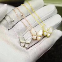 Wholesale natural pearl shell pendant resale online - 925 sterling silver Natural Shell Crystal Butterfly necklace Fashion mother of pearl animal pendant cz zircon diamond necklace party jewelry