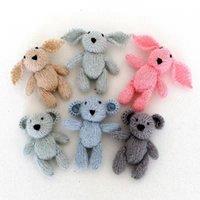 conejito recién nacido fotografía prop al por mayor-Oso de peluche de punto Toy Photo Prop Crochet Bunny Toy para recién nacidos accesorios de fotografía Crochet Rabbit Baby Photo Prop Christmas Props J190517