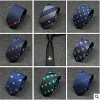 costumes d'affaires rayures achat en gros de-Nouvelle cravate style hommes rayures diagonales personnalité broderie sort couleur abeille motif cravate polyvalent hommes costume