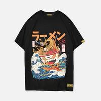 japanische hüften groihandel-Männer Baumwolle Kurzarm Harajuku T-Shirt Oansatz Oversize Hip Hop Japanische T-Shirts Mann 2019 Sommer Punk Streetwear T-Shirts