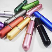 glaszerstäuber sprühflaschen großhandel-9color Mini leeren Spray-Duftstoff-Flasche 5ml Aluminium eloxiert Compact Duftstoff-Zerstäuber Duft leere Glas Duft-Flasche RRA2216