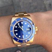 зеленая рамка автоматическая оптовых-Мужские наручные часы 40 мм 116610 черные / синие / зеленые часы Dail Часы из 18-каратного золота с застежкой из керамики