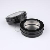Wholesale metal storage box free shipping resale online - Excellent Makeup Tools g Black Aluminium Cosmetic Jars Visible Metal Display Box Storage Jar For Accessories