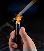 mini isqueiro usb venda por atacado-Mini USB Touch-senstive Interruptor Isqueiro Isqueiro Isqueiros USB À Prova de Vento Sem Chama Recarregável Isqueiro Eletrônico para Fumar