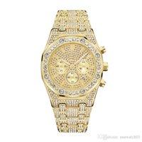 marca relógios diamantes venda por atacado-Mens moda Diamond Watch relógios de grife brilhante marca Royal Osk offshore de senhoras para fora congelado Assista Todo o trabalho subdial Movimento Quartz Relógio de pulso