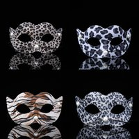 Wholesale halloween 2 mask resale online - Man Woman Halloween Masquerade Masks PVC Leopard Print Pattern Masks Makeup Dancing Party Decorate Facepiece New Arrival yt L1