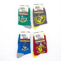 karikatür sox toptan satış-Harry Potter Çorap Ravenclaw'un Gryffindor Çorap Slytherin Hufflepuff Sox Cosplay Kostüm Çorap Okul Çizgili Badge Çorap MMA2675-B1