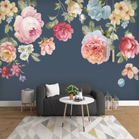 Wholesale wall poster background resale online - Custom Poster D Photo Wallpaper Chinese Style Modern Hand Painted Flower Living Room Sofa Bedroom Background Wall Paper Mural