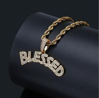 collar de oro de 14k con letras al por mayor-14 K chapado en oro Hip Hop Carta bendito colgante collar para hombre Micro Pave Cubic Zirconia diamantes simulados con cadena de cuerda de 24 pulgadas