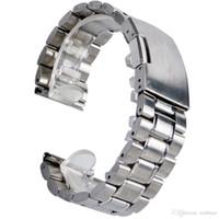 correa de reloj de caucho de silicona amarilla al por mayor-Alta calidad 18 mm / 20 mm / 22 mm Plata Sólido Nuevo con etiquetas Reemplazos de la banda de reloj de acero inoxidable para mujeres hombres Relojes de pulsera