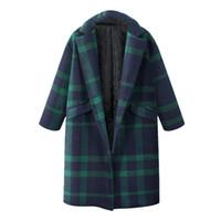 kaliteli trençkot katmanı kadınlar toptan satış-Yeni Moda Tasarım Yüksek Kalite Bayan Kış Ekose Yaka Yün Ceket Trençkot Uzun Parka Palto Dış Giyim Coat Kadınlar Kış