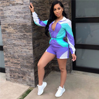 Wholesale women long sleeve rompers for sale – dress Patchwork Color Women Jumpsuit Shorts Sun protective Waterproof Tracksuit Long Sleeve Zipper Front Top Jacket Shorts Rompers Outfit A41108