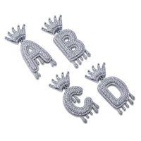 schmuck initialen männer großhandel-A-Z Anfängliche Blase Brief Halskette Name Crown Drip Letters Anhänger Halsketten Männer Frauen Gold Silber Farbe CZ Hip Hop Schmuck Geschenke