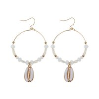ingrosso orecchini di conchiglie marine-Boemia Sea Shell Round Circle Stone Beaded Drop Earrings Gioielli mare estate