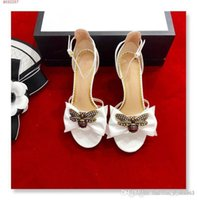 Wholesale women diamond open toe heels for sale - Group buy Summer new leather water diamond Bee Bow decoration toe toe High heels Sexy fashion retro Women sandals