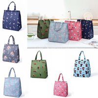 Wholesale kitchens products resale online - 6styles Portable flamingo foldable lunch bags tote lunch box bag kitchen storage bags outdoor travel picnic thermal bag carry bags FFA2294
