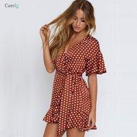 kırmızı polka nokta mini elbise toptan satış-Kırmızı Polka Dot Yaz Elbise Kısa Kollu V Yaka Seksi Mini Elbise Kadınlar İnce Bel Düzensiz Bezelye Ruffles vestidos 304