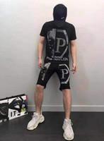 spor tişörtleri yaka toptan satış-Yaz erkek Spor Takım Elbise Maserati Baskı erkek Ayakta Yaka T-shirt Kısa Kollu Casual Koşu Pantsuit Homme Spor Suit Ile # 0031