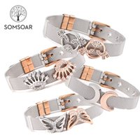 Wholesale jewelry two tones gold set for sale - Group buy Somsoar Jewelry Stainless Steel Keeper Mesh Bracelet with Silver Rose Gold Slide Charms Two tone Mesh Bracelet set