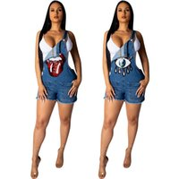 f076a07f1d6 Women Denim Overalls Sequins Lip Eye Jumpsuit Rompers Shorts Sexy stretchy short  jeans jumpsuit sommer clothes plus size S-2XL