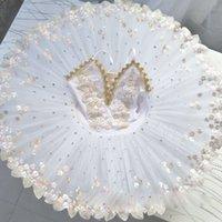 kızlar için beyaz dans elbiseleri toptan satış-Çocuk çocuklar için beyaz profesyonel balerin bale tutu çocuk kız yetişkinler gözleme tutu elbiseler dans kostümleri bale elbise
