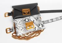 deri bel çantası poşetleri toptan satış-Ayrılabilir Moda Serpantin Fanny Paketi PU Deri Kılıfı Kemer Çantası Kadın 2018 Kadın Bel Telefon Omuz Çantaları Çanta Bel Bel Paketleri