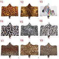 ingrosso coperte di peluche animale-150 * 130 cm Leopard Hooded Blanket Cloak Winter Thickened Double Peluche Coperte Animal Fur 3D Stampa Baby Blanket Coperta magica MMA1150