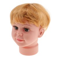 Wholesale wig stores resale online - High Quality Plastic Baby Boy Mannequin Manikin Head with Wig Kids Child Sunglasses Hat Display Stand Tool for Salon Stores