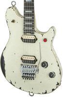 Wholesale music man guitars resale online - New Custom aged Eddie Van Halen Wolf Guitar Music Man Ernie Ball Axis vintage White Relic Electric Guitar Red Button Tremolo Bridge