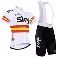 hommes cyclisme ciel achat en gros de-2019 SKY PRO TEAM vêtements de cyclisme en jersey à manches courtes pour hommes avec cuissard à séchage rapide Ropa Ciclismo