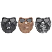 Wholesale movie masks creepy for sale - Group buy Creepy Horror Skull Half Mask for CS Paintball Movie Party Cosplay Props