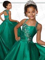 garotas de garotas sexy venda por atacado-Sexy caçador verde halter meninas concurso vestidos princesa uma linha nova chegada de cristal frisada tafetá buraco da fechadura de volta do baile de formatura vestido formal menina