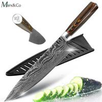 cuchillos laser al por mayor-Juego de cuchillos de cocina Cuchillos para cocinar Japoneses 7CR17 440C Patrón de láser de lijado de acero inoxidable de alto carbono Vegetales Santoku Cuchillo