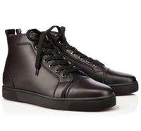 açık paten ayakkabıları toptan satış-Yüksek Kalite Erkekler Siyah Dana Derisi Sneakers Yüksek-tops Hakiki Deri Ayakkabı, Lüks Erkekler Skate Genç Açık Yürüyüş Genç Adam Toptan