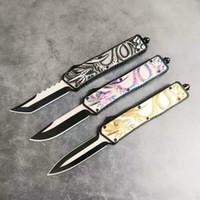 presentes chineses do xmas venda por atacado-AutoTF dragão chinês 440C lâmina dupla ação caça dobrável faca fixa Survival Knife Xmas presente C158 Techno
