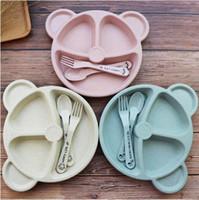 ingrosso set di stoviglie-1Pack Ciotola da tavola per bebè in bambù + cucchiaio + forchetta Stoviglie per alimenti per bambini Cartoon Panda Piatti per bambini Set da tavola per bambini