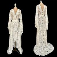 2020 Latest Bohemian Style Brides Cape Long Sleeves Luxury Lace Wedding Bridal Long Jacket Bolero Manufacturer