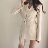 yazlık elbiseler kore bayanlar toptan satış-Kore İnce Zarif Kariyer kadın Elbise Blazer Siyah Beyaz Kemer Kadın Ofis Bakmak 2019 Yaz Sonbahar Ofis Bayan Blazers T190906