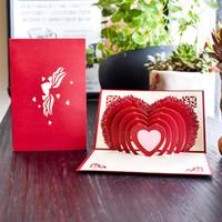 kırmızı beyaz kağıt toptan satış-Yaratıcı Düğün Davetiyeleri Üç Boyutlu Nimet Kart Kırmızı Beyaz Narin Kağıt Tebrik Kartları Için Sevgililer Severler 5bs Ww