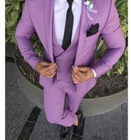 лучшие свадебные платья с воротником оптовых-3PCS (Coat+Pants+Vest) Custom Made Notch Collar Button Groom Wedding Suits for Men Dress 2019 Best Mens Suit