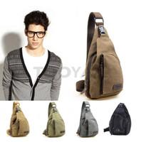 bolsa de lona para meninos venda por atacado-LYTOO Canvas Shoulder Bag Homens Meninos Moda Chest Packs Pequeno Ourdoor Esportes Sacos Casuais Cross Body