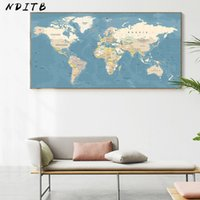 Wholesale vintage office posters resale online - World Map Decorative Picture Canvas Vintage Poster Nordic Wall Art Print Large Size Painting Modern Study Office Room Decoration SH190919