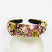 yeni gelin tacı toptan satış-Yeni Bağbozumu Barok Tiara Taç Kırmızı Çiçek Kafa Lüks Kraliçe Headdress Düğün Saç Aksesuarları Gelin Saç Jewelry1020 Y19051302