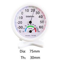 indicador de temperatura interior al por mayor-Odatime 75 mm * 30 mm Rango -30-60C reloj en forma metereológi interior Temperatura exterior Gauge Medidor de humedad relativa para el dormitorio sala de estar