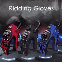 motosiklet eldivenleri kırmızı toptan satış-Motosiklet Sürme Eldiven Dört Mevsim Evrensel Moto Kaymaz Nefes Yaz Açık Spor Eldiven Siyah Kırmızı Mavi HHA273