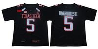 uniformes de fútbol amarillo naranja al por mayor-# 5 Patrick Mahomes II de la NCAA de Texas Tech Red Hombres balompié Jersey de los hombres del jersey del fútbol Negro Rojo Blanco del envío de la S a la 3XL