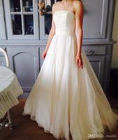 d4dc811f3f4 Кружева без бретелек Корсет Органзы A Line Свадебные Платья Цветные Простой  Дизайн Платья Невесты Шампанское Пояс Пояса Плюс Размер Свадебное Платье