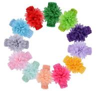 çiçek saç aksesuarları tığ işi toptan satış-Bebek kafa Yürüyor Yay Çiçek Saç Aksesuarları Saç Bandı Bebek Çocuk Tığ şifon Çiçek Hairband Kafa KKA6847